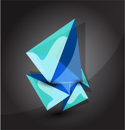 Glass transparent pyramid background Vector