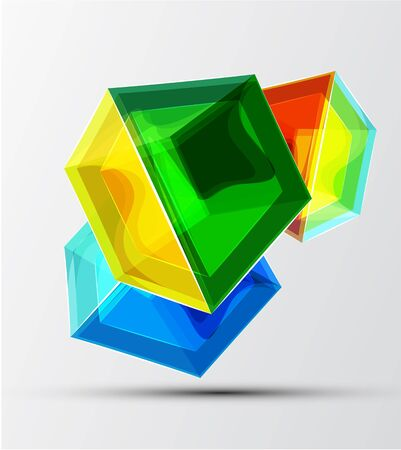shiny transparent glass cube background Vector