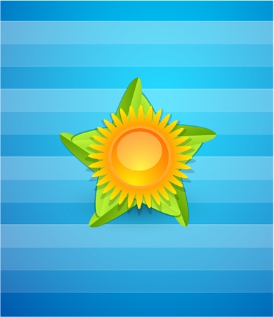 Yellow sun on star isolated over striped blue background Vector