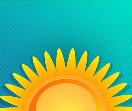 summer day: Yellow sunrise over blue background