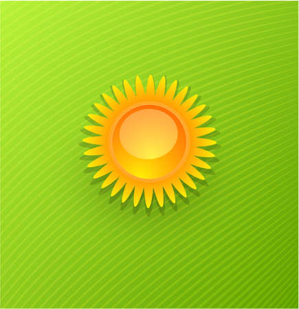 Yellow sun over green background Vector