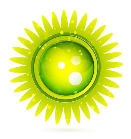 Glossy green sun. Vector illustration