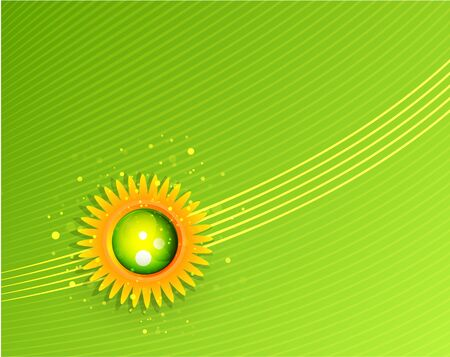 Sun with leaves. Nature concept Vector