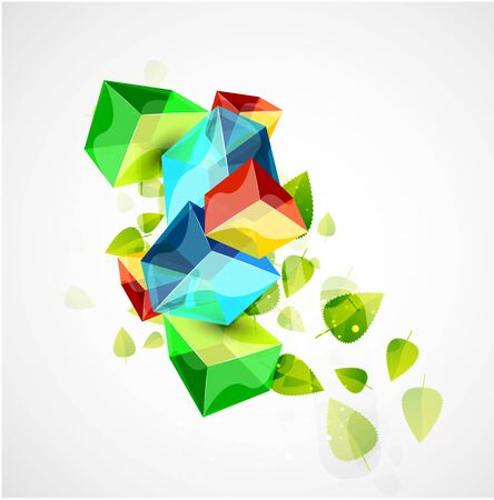 Vector glass cubes and leaves. Concept Vector