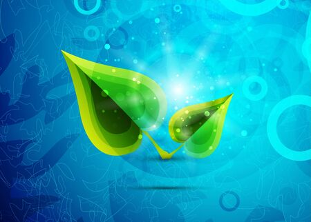 Green vector leaves on blue background photo
