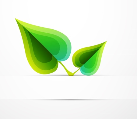 reflection of life: Vector leaf concept. Nature abstract symbol