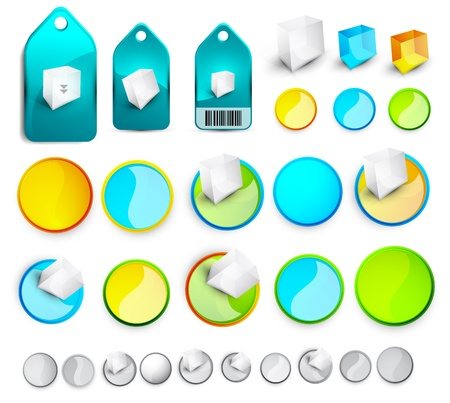 Vector abstract glossy buttons and tags photo