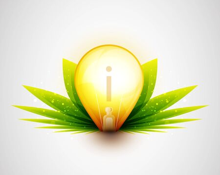 Light bulb and green leaves nature concept photo