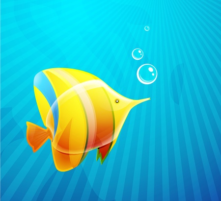 Tropical fish in water Illustration
