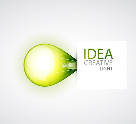 innovation growth: Green light bulb environment concept Stock Photo