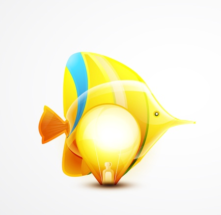 Vector tropical fish and light bulb concept photo