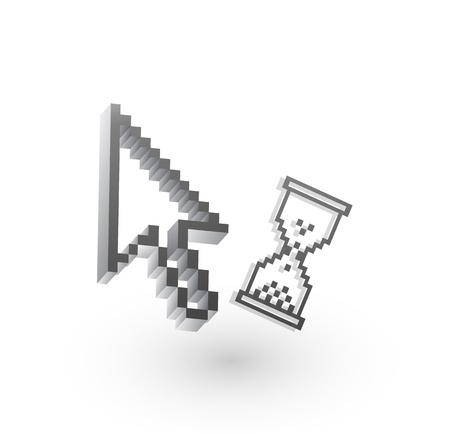 Grey pixel wait cursor Stock Vector - 10455635
