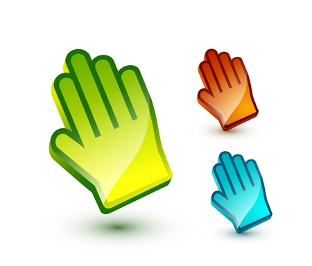 Vector colorful glossy hand pointer Vector