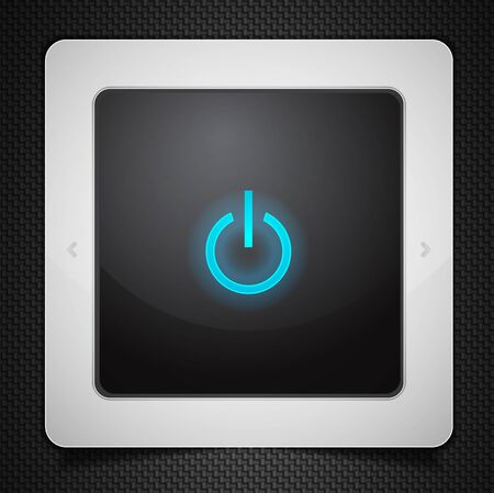 Tablet computer with power icon isolated on black Stock Photo - 10455514