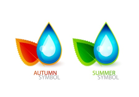 waterdrop: Vector blue waterdrop with leaves