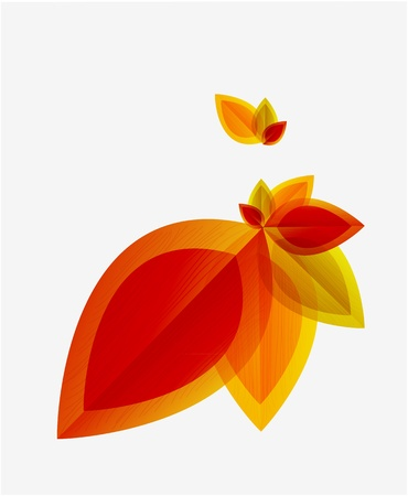 fall leaves border: Vector abstract autumn leaf background