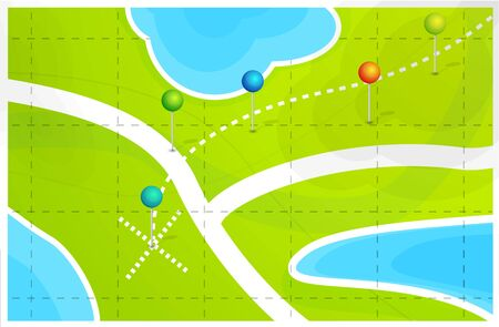 geolocation: Vector map with location pointers