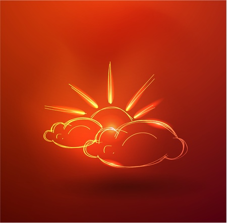 Vector hand-drawn cloud and sun Stock Vector - 10475967