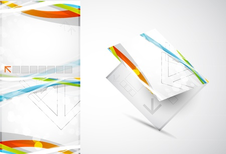 planet futuristic: Abstract colored lines vector brochure