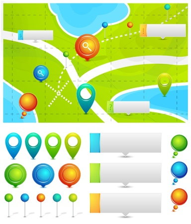 Vektor-Karte mit Standort Zeiger Vektorgrafik