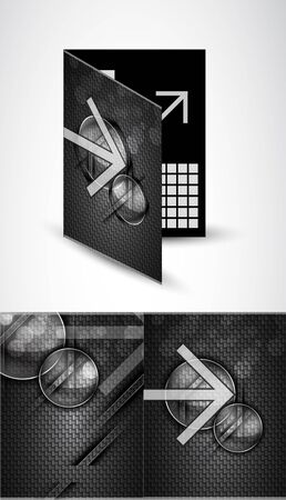 Vector brochure template. Carbon texture photo