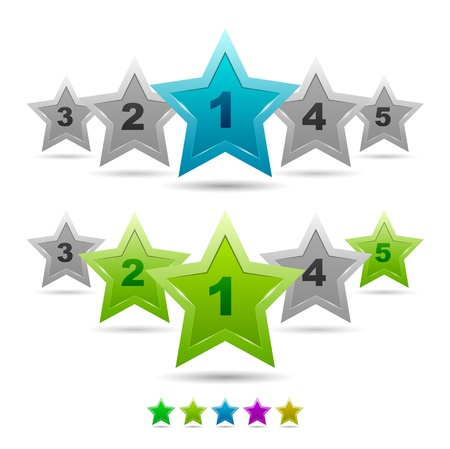 five stars: Star rating vector icons