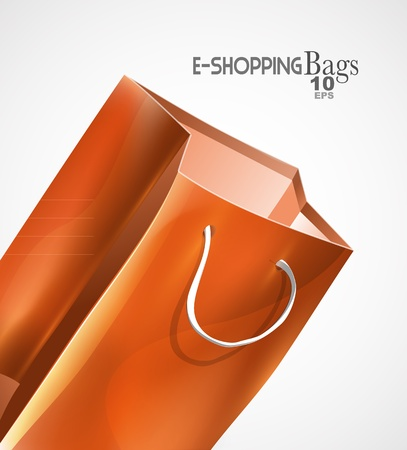 white paper bag: orange bag background Illustration