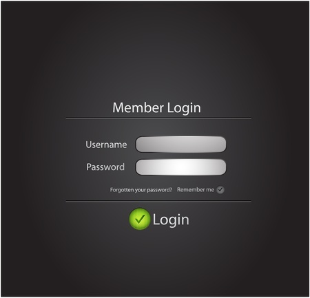 website template: Login black modern vectorn background Illustration