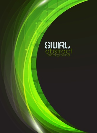 green and black: Green flow vector abstract background
