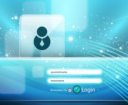 Blue login page Vector