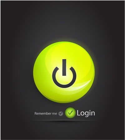 Vector power button. Login page Vector