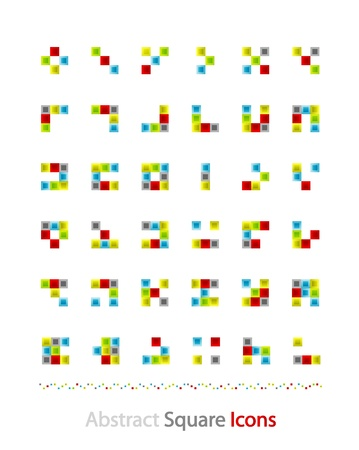 Set of abstract blocks made of squares Vector