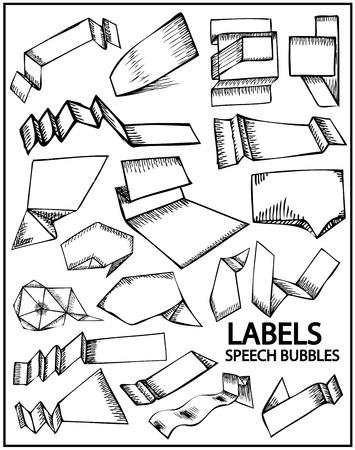 Set of hand drawn labels Vector