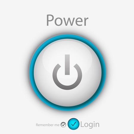 login page with power button Vector