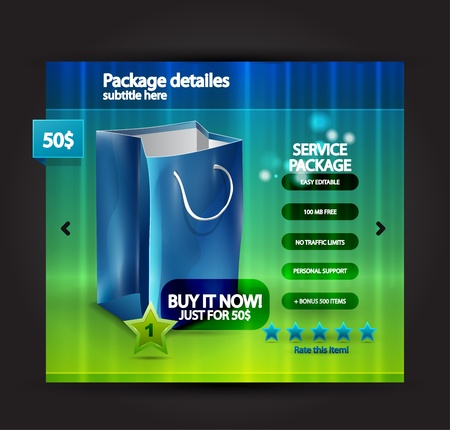 net bar: Vector web selling product page Illustration