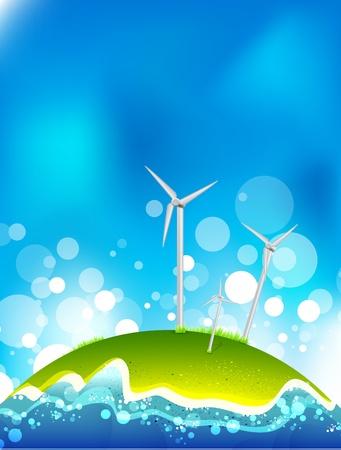 risparmio energetico: Concetto di risparmio energetico. Mulini a vento. Vettoriali