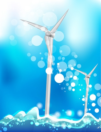 Energy saving concept. Eco windmills Vector