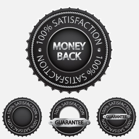 100% satisfaction black badges Vector