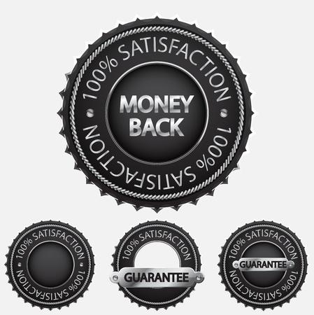 zufriedenheitsgarantie: 100% Zufriedenheit schwarzen Abzeichen Illustration