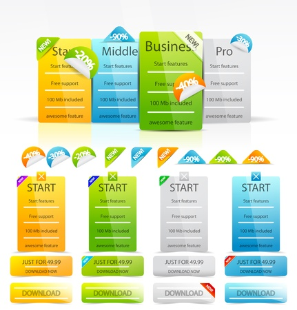 web site template: Vector clean color web boxes and labels