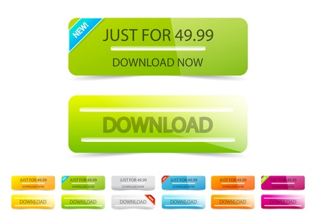clean download buttons Stock Vector - 11330057