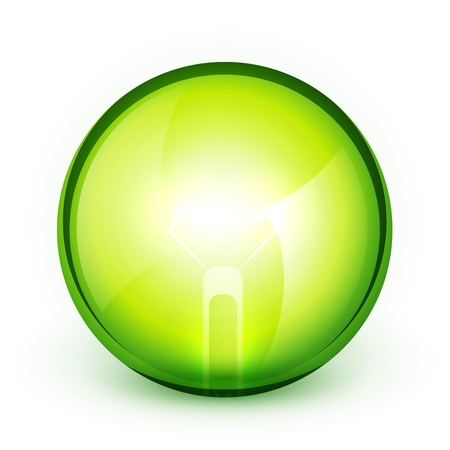 blue bulb: Green light bublb energy saving concept