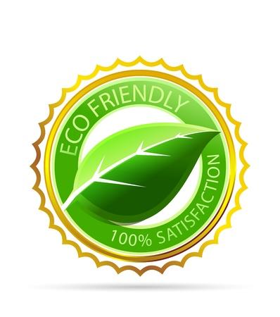icono ecologico: Oro eco etiqueta de f�cil Vectores