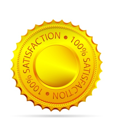 seal of approval: Golded satisfaction tag