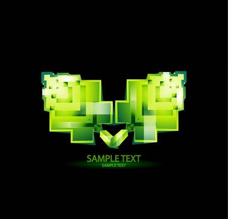 pixeled: Stylized square pixeled leaves Stock Photo