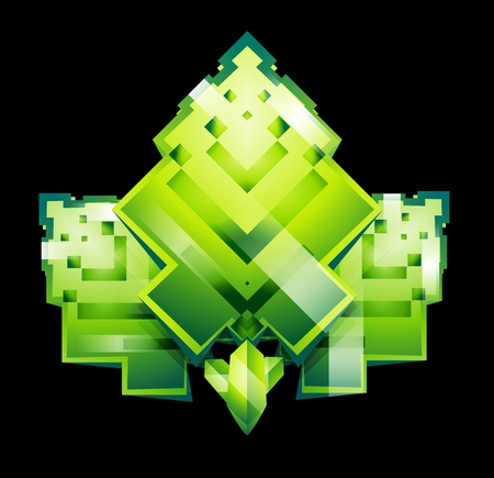 pixeled: Stylized square pixeled leaves Illustration