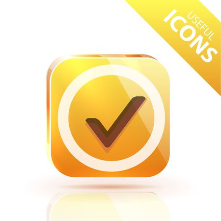 Glossy yellow orange metallic button Stock Vector - 12493164