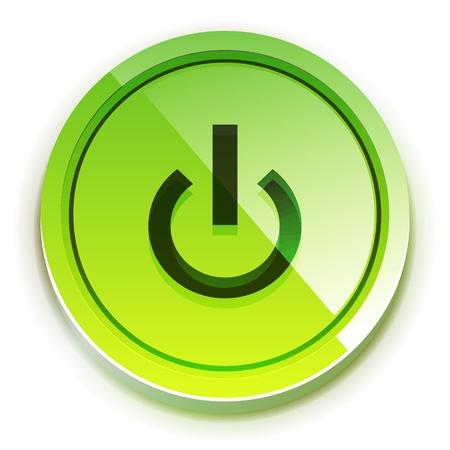 Botón de encendido brillante Ilustración de vector