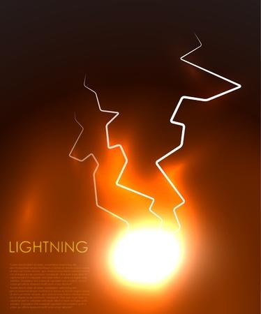 palla di fuoco: gli effetti dei fulmini sfondo astratto Vettoriali