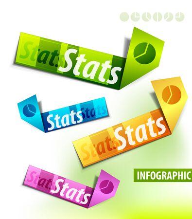 statistique: Des �tiquettes de couleur Illustration